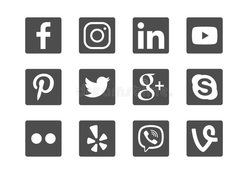 Insieme sociale dell'icona di media del quadrato nero fotografia stock libera da diritti