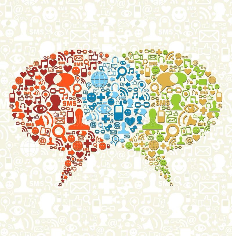 Insieme sociale dell'icona di media nel colloquio delle bolle illustrazione di stock
