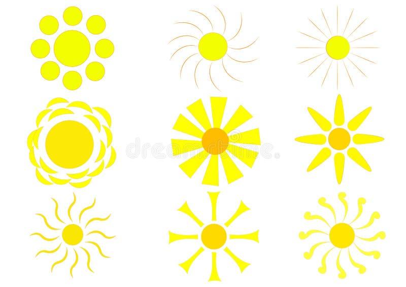 Insieme soleggiato dell'icona per la vostra fantasia royalty illustrazione gratis