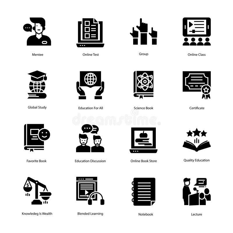 Insieme solido delle icone di vettore di istruzione fotografia stock libera da diritti