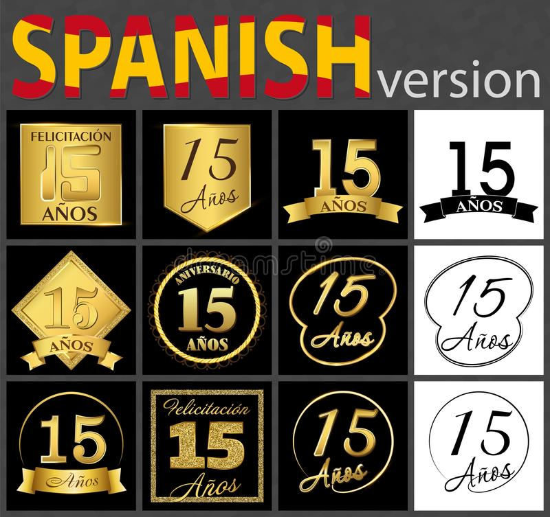 Insieme spagnolo dei modelli di numero 15 illustrazione vettoriale