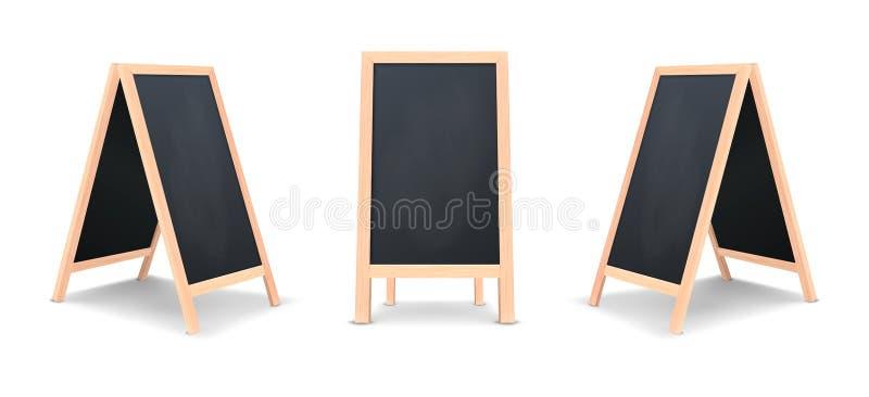 Insieme speciale realistico dell'icona del bordo di annuncio del menu Fondo all'aperto della lavagna del ristorante pulito di vet illustrazione di stock