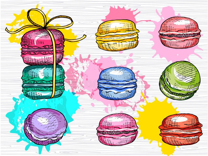 Insieme squisito di vettore dei macarons isolato Raccolta variopinta dei macarons Illustrazione disegnata a mano di vettore royalty illustrazione gratis