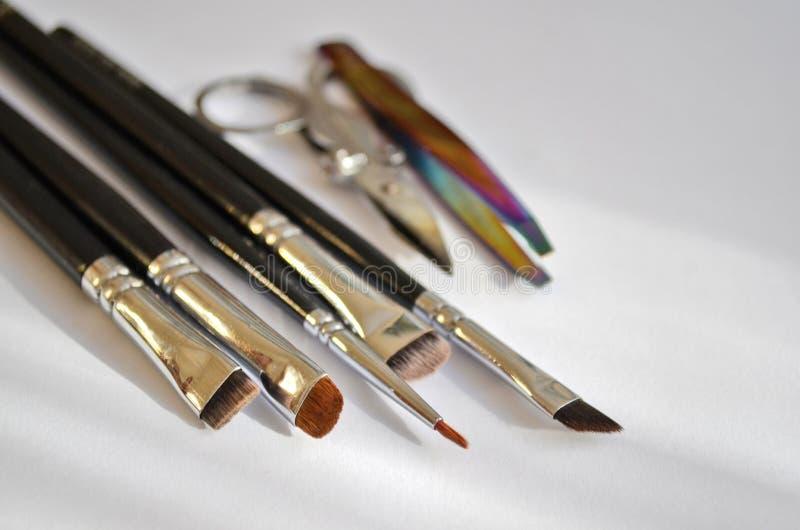 Insieme stabilito del truccatore A degli strumenti delle spazzole del truccatore e forbici e pinzette differenti in sole immagine stock libera da diritti