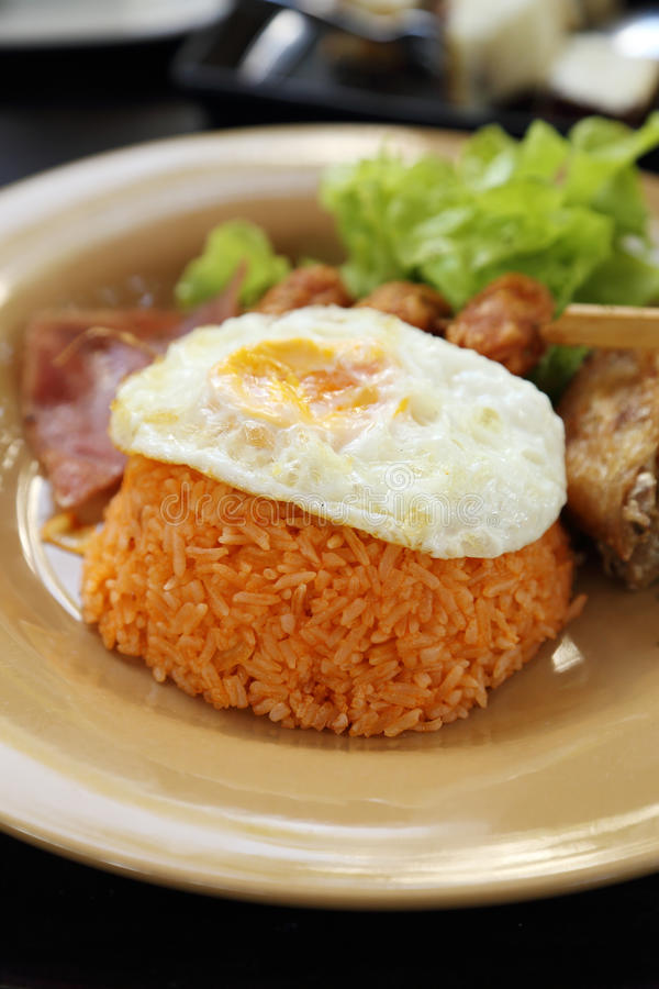 Insieme stile americano della prima colazione, riso fritto immagine stock libera da diritti