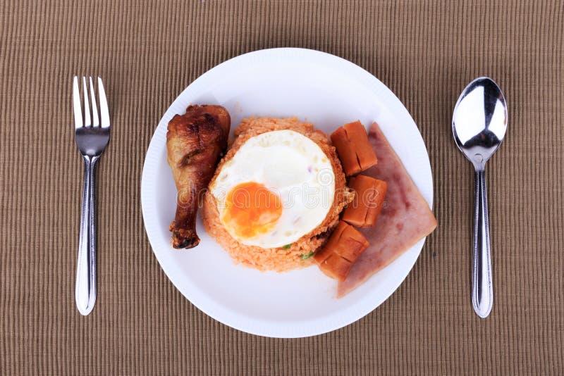 Insieme stile americano della prima colazione, riso fritto dell'americano immagine stock