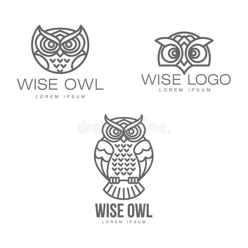 Insieme stilizzato disegnato a mano dell'icona dell'uccello del gufo di vettore royalty illustrazione gratis
