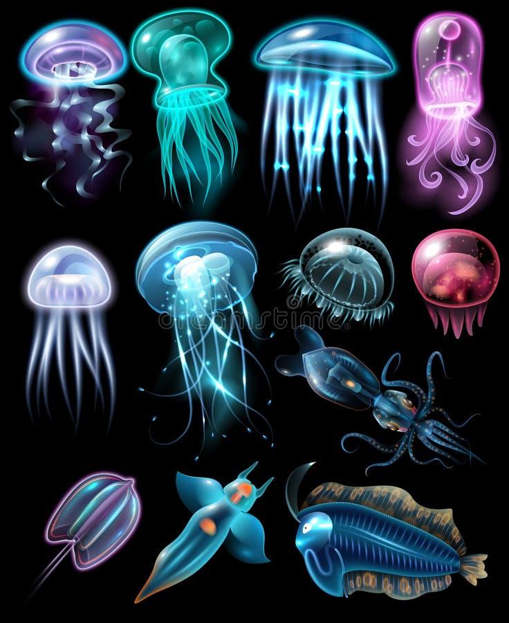 Insieme subacqueo dell'icona degli animali illustrazione vettoriale