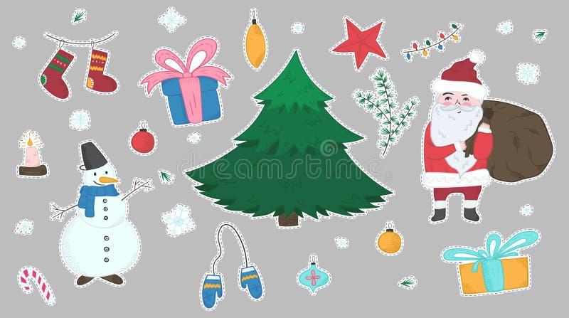 Insieme sveglio degli autoadesivi degli elementi di Natale di scarabocchio illustrazione di stock