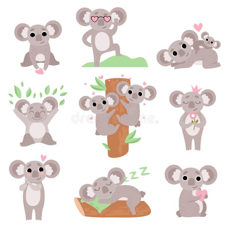 Insieme sveglio degli orsi di Coala, personaggi dei cartoni animati animali divertenti in varie pose ed illustrazione di vettore  royalty illustrazione gratis