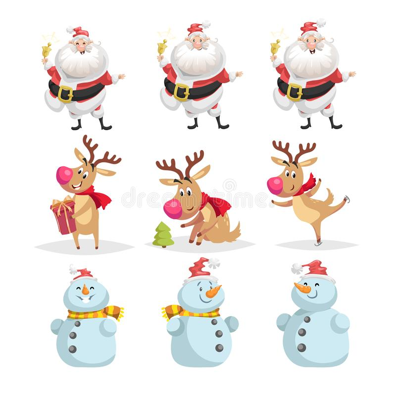Insieme sveglio dei caratteri di Natale del fumetto Pose e situazioni differenti di Santa Claus, della renna e del pupazzo di nev illustrazione vettoriale
