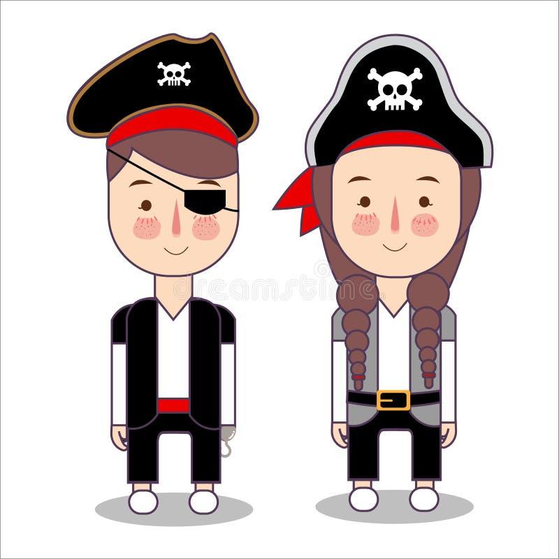 Insieme sveglio del costume dei pirati dei bambini per il partito di Halloween bambini ragazza e vestiti d'uso del carattere di f illustrazione di stock