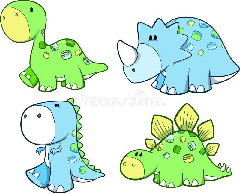 Insieme sveglio del dinosauro royalty illustrazione gratis