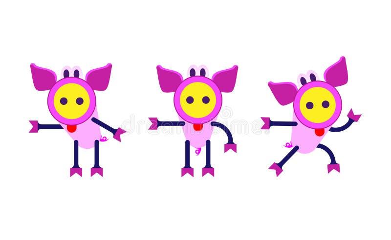 Insieme sveglio del fumetto dei porcellini della trinità Segno cinese dello zodiaco, buon anno 2019 anni del maiale illustrazione di stock