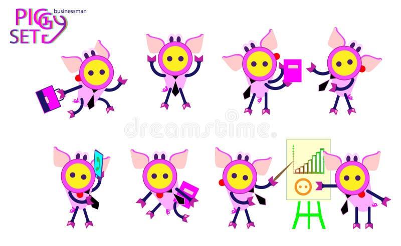 Insieme sveglio del fumetto dei porcellini di affari Posa ed emozioni dell'ufficio Segno cinese dello zodiaco, buon anno 2019 ann royalty illustrazione gratis