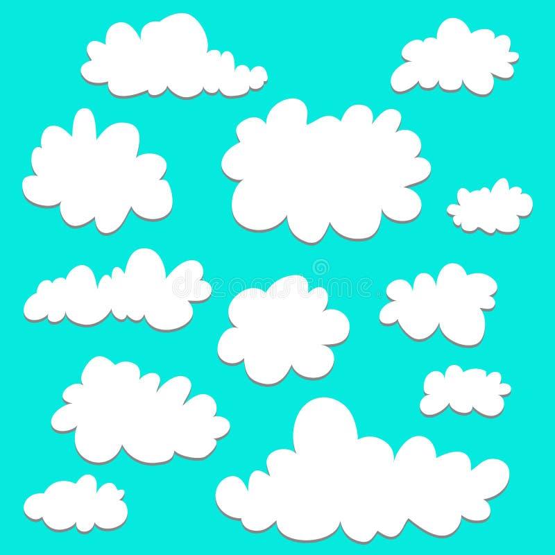 Insieme sveglio del fumetto delle nuvole su fondo blu per il logo, il web e la stampa Priorità bassa del cielo Elemento grafico illustrazione di stock
