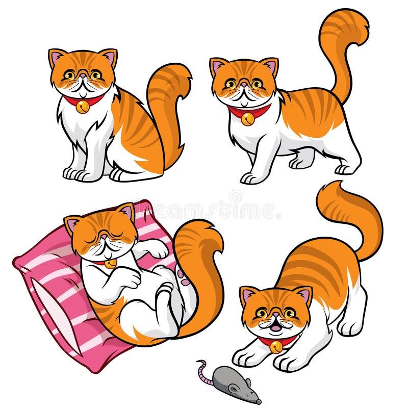 Insieme sveglio del gatto persiano illustrazione di stock