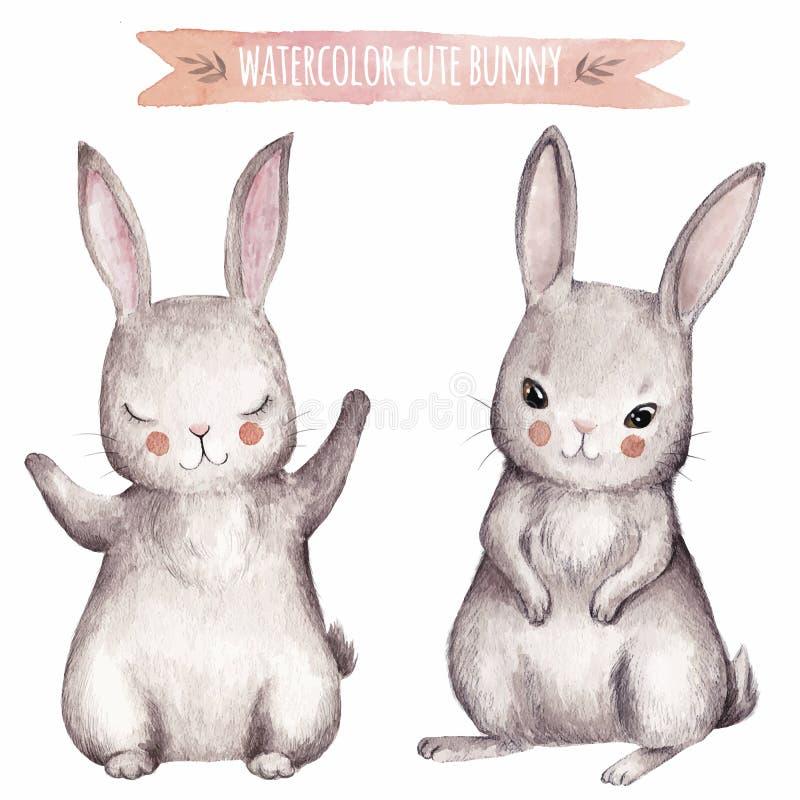 Insieme sveglio dell'acquerello del coniglietto royalty illustrazione gratis