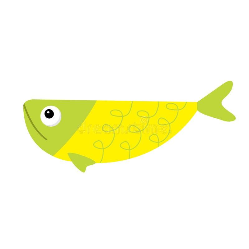 Insieme sveglio dell'icona del pesce del fumetto Isolato Il bambino scherza la raccolta Animale giallo verde variopinto dell'acqu royalty illustrazione gratis