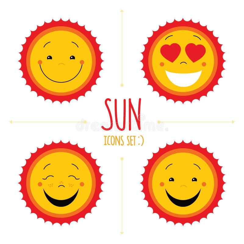 Insieme sveglio dell'icona del sole di vettore del bambino Il logos sveglio del sole di sorriso del bambino si raccoglie illustrazione di stock