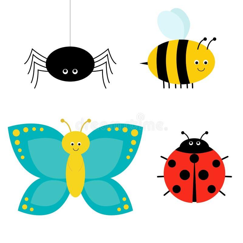 Insieme sveglio dell'insetto del fumetto Coccinella, ragno, farfalla e ape Isolato illustrazione vettoriale