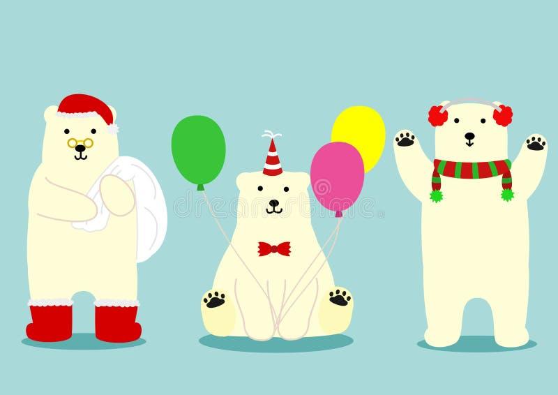 Insieme sveglio dell'orso polare illustrazione di stock