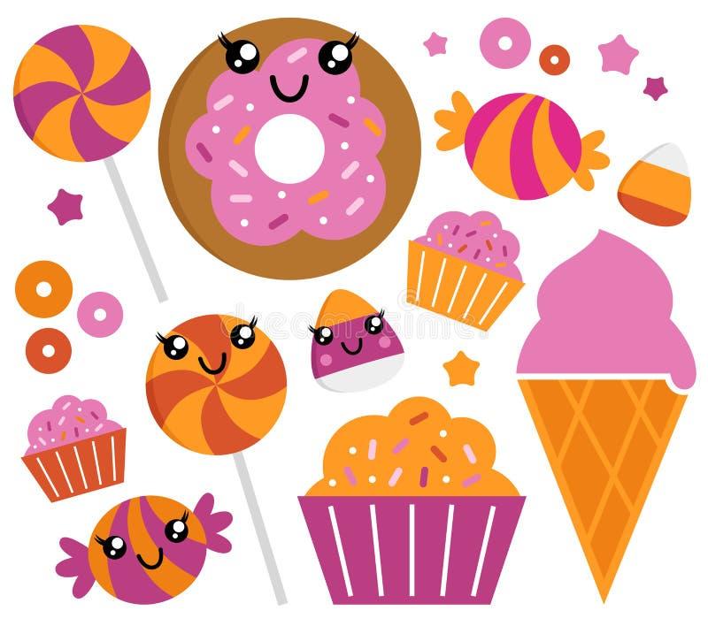 Insieme sveglio della caramella di zucchero illustrazione di stock