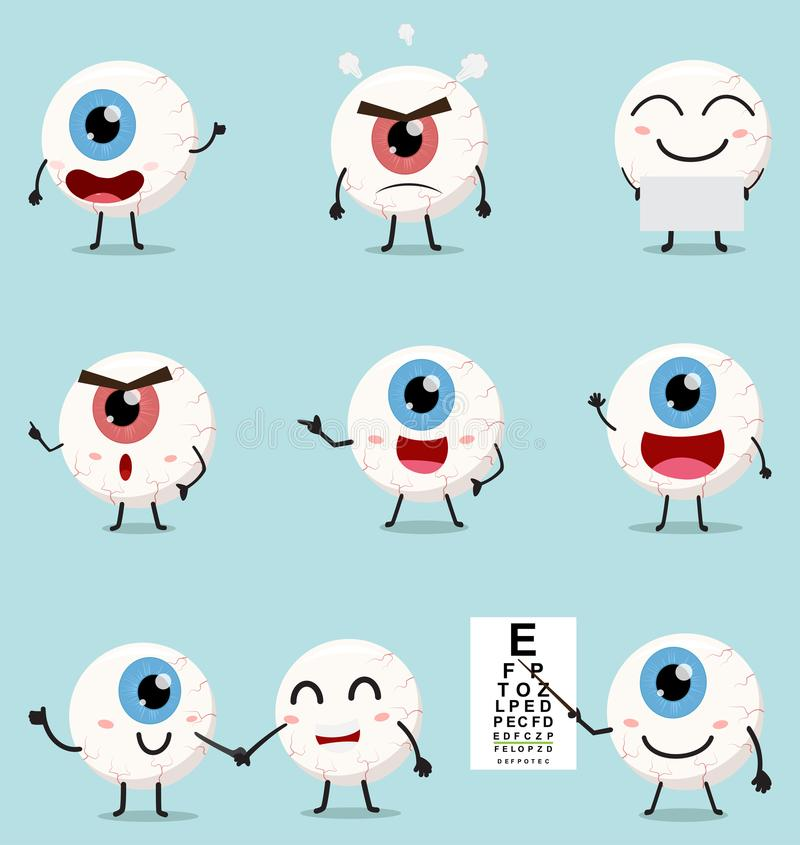 Insieme sveglio della raccolta del fumetto del bulbo oculare royalty illustrazione gratis