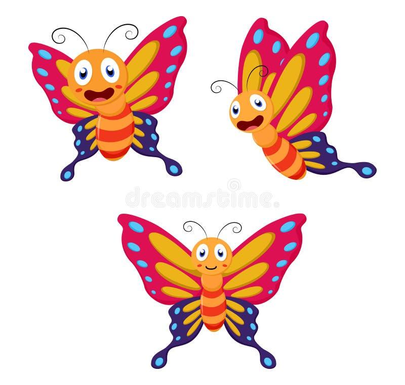 Insieme sveglio della raccolta del fumetto della farfalla illustrazione vettoriale