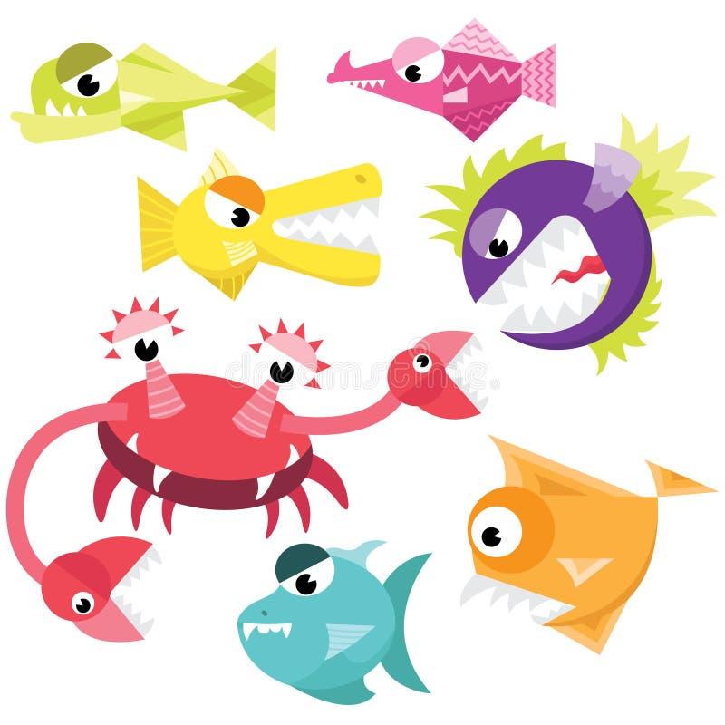 Insieme sveglio della raccolta del mostro del pesce illustrazione vettoriale
