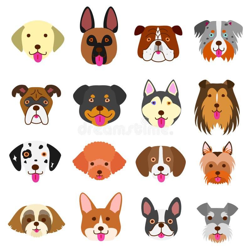 Insieme sveglio di arte dei fronti dei cani royalty illustrazione gratis