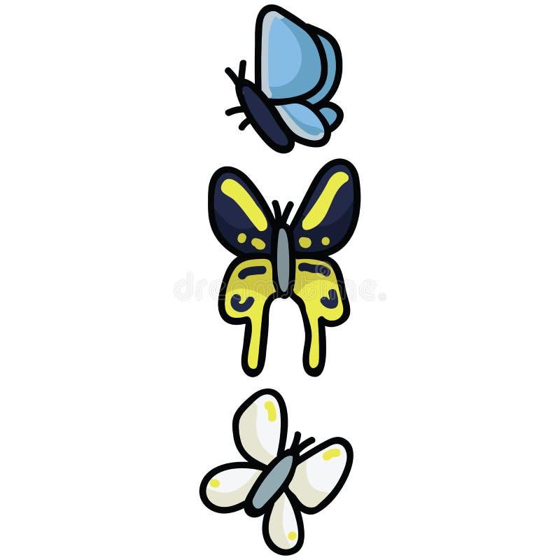Insieme sveglio di motivo dell'illustrazione di vettore del fumetto di specie della farfalla Icone graziose disegnate a mano del  royalty illustrazione gratis