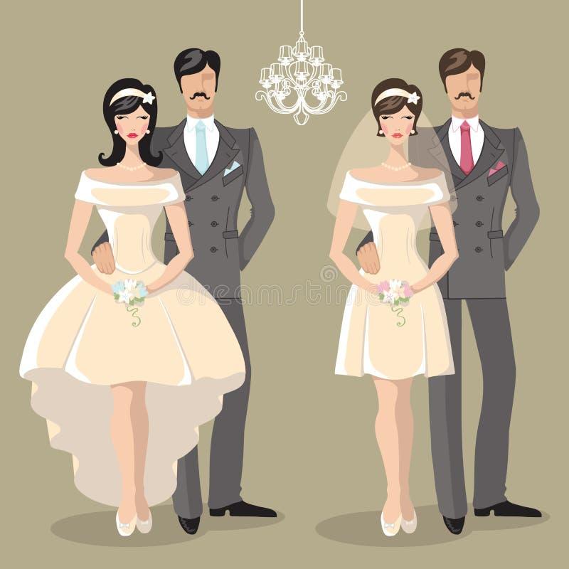 Insieme sveglio di nozze della sposa e dello sposo delle coppie del fumetto illustrazione di stock