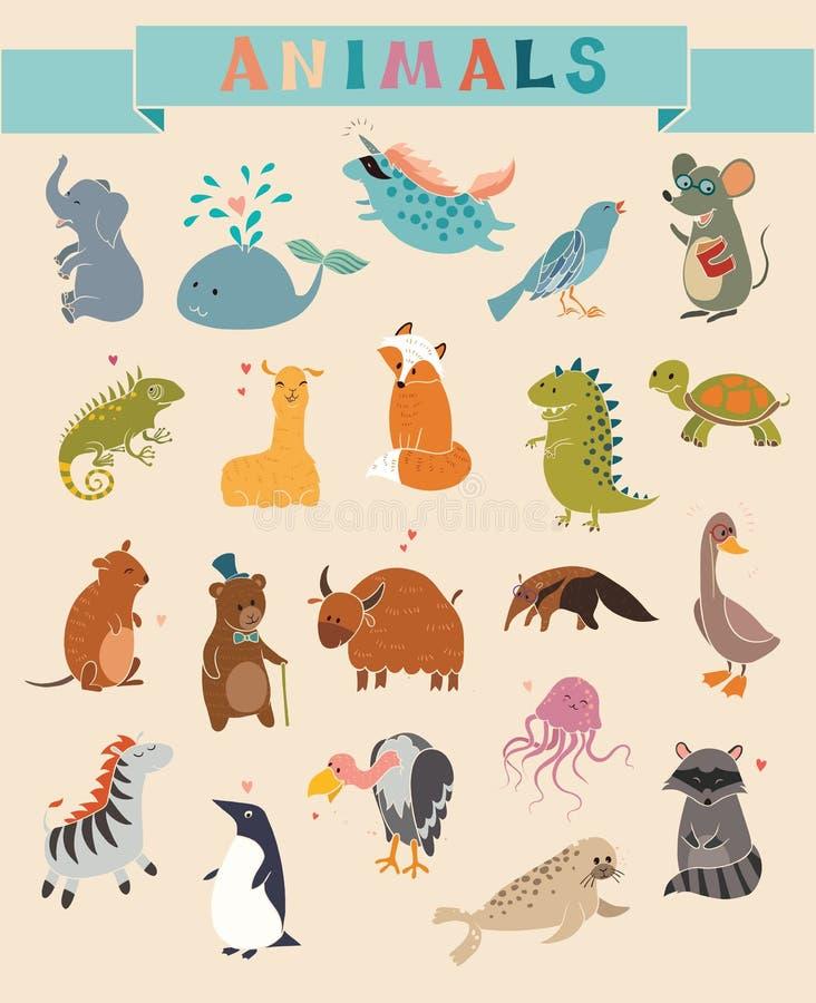 Insieme sveglio di vettore degli animali illustrazione di stock