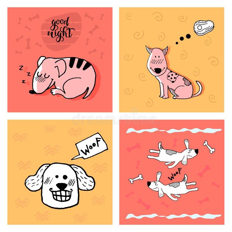 INSIEME sveglio divertente del cane, stampa puerile di scarabocchio della mano Perfezioni per la maglietta, l'abito, le carte, il illustrazione vettoriale