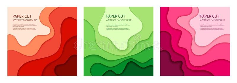 Insieme tagliato di carta del fondo dell'estratto di vettore illustrazione di stock