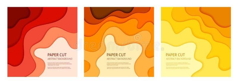 Insieme tagliato di carta del fondo dell'estratto di vettore illustrazione vettoriale