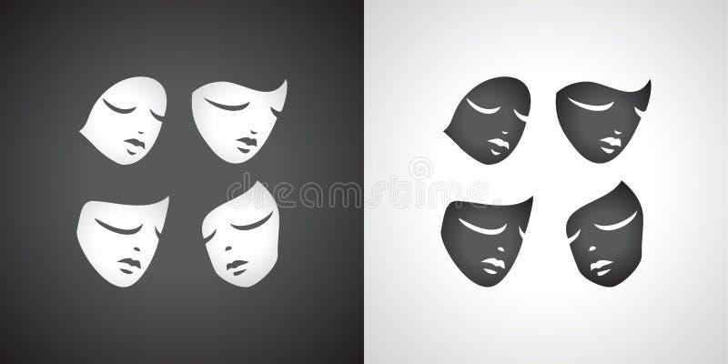 Insieme teatrale della maschera Tragediya della commedia Yin e yang royalty illustrazione gratis