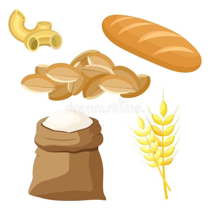Insieme tematico dei prodotti alimentari da grano e da farina illustrazione di stock