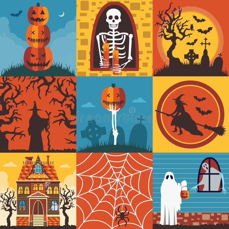 Insieme terrificante del modello dei manifesti e delle carte di Halloween royalty illustrazione gratis