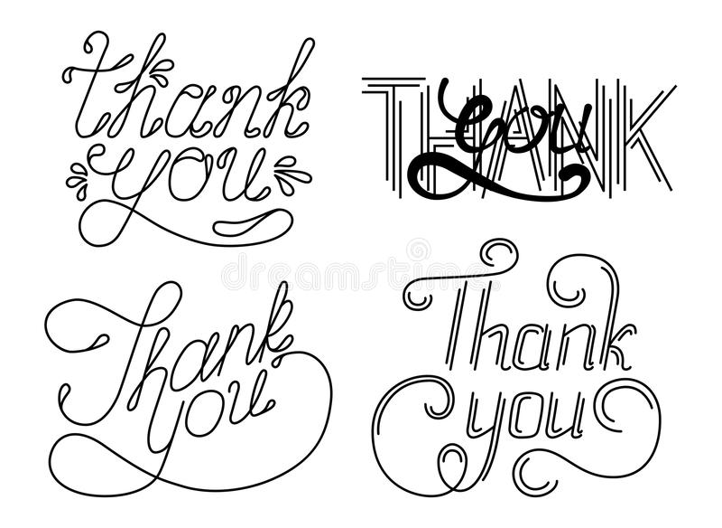 Insieme THANK VOI passare le frasi dell'iscrizione Illustrazione di vettore illustrazione di stock