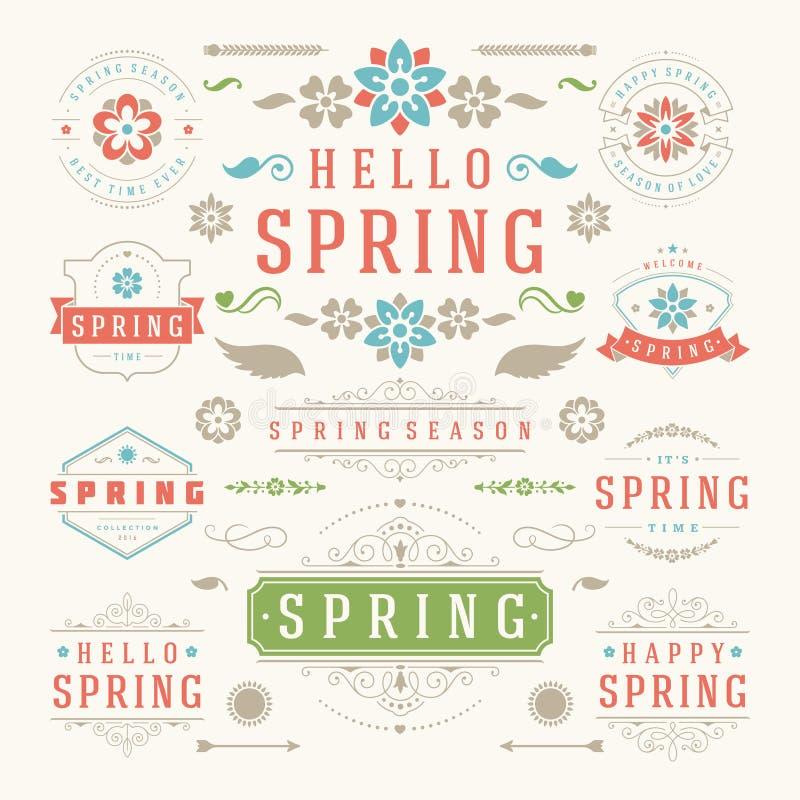 Insieme tipografico di progettazione della primavera Retro e modelli d'annata di stile illustrazione vettoriale