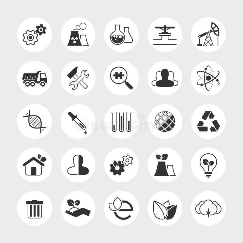 Insieme totale dell'icona di vettore di ecologia e di industria illustrazione vettoriale