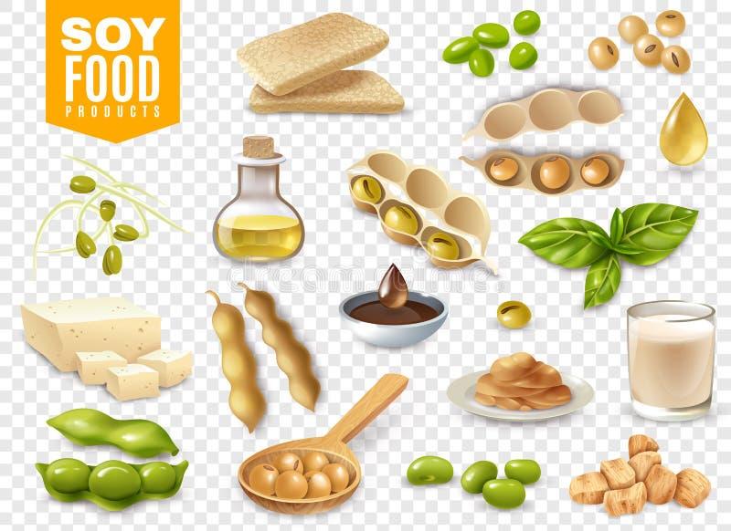Insieme trasparente dei prodotti alimentari della soia illustrazione vettoriale