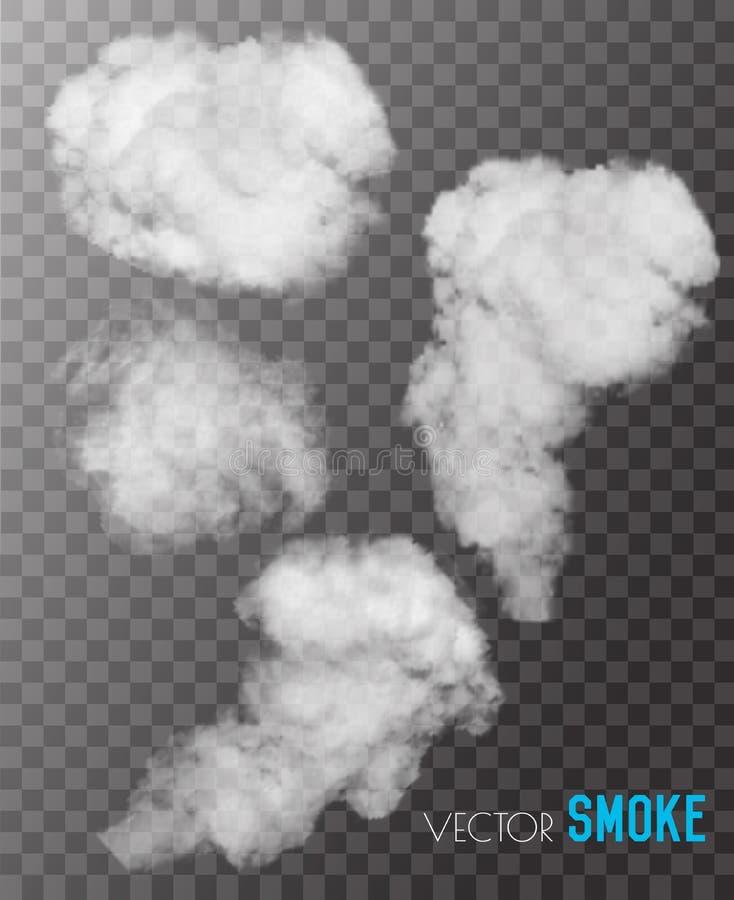 Insieme trasparente dei vettori del fumo illustrazione di stock
