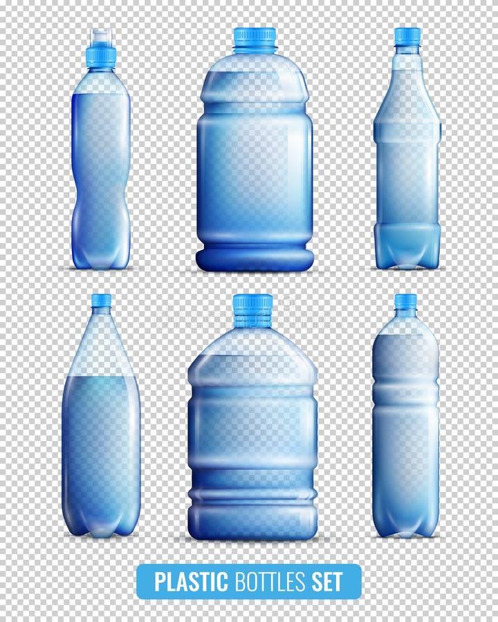 Insieme trasparente dell'icona delle bottiglie della plastica royalty illustrazione gratis