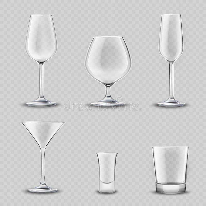 Insieme trasparente della cristalleria illustrazione di stock