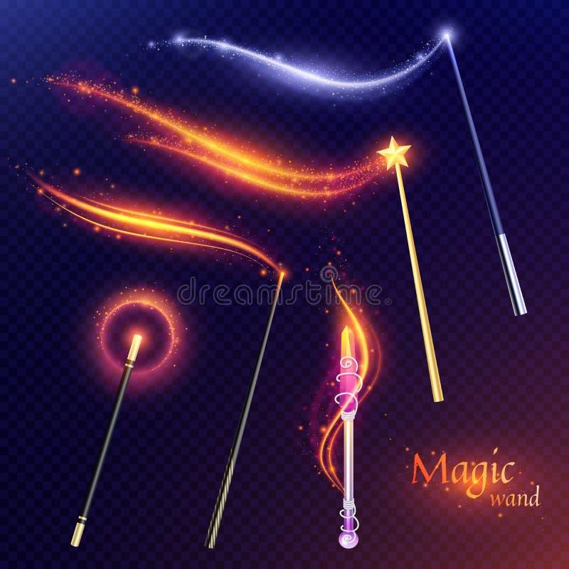 Insieme trasparente delle bacchette magiche illustrazione di stock