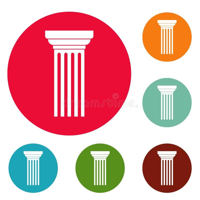 Insieme triangolare del cerchio delle icone della colonna illustrazione di stock