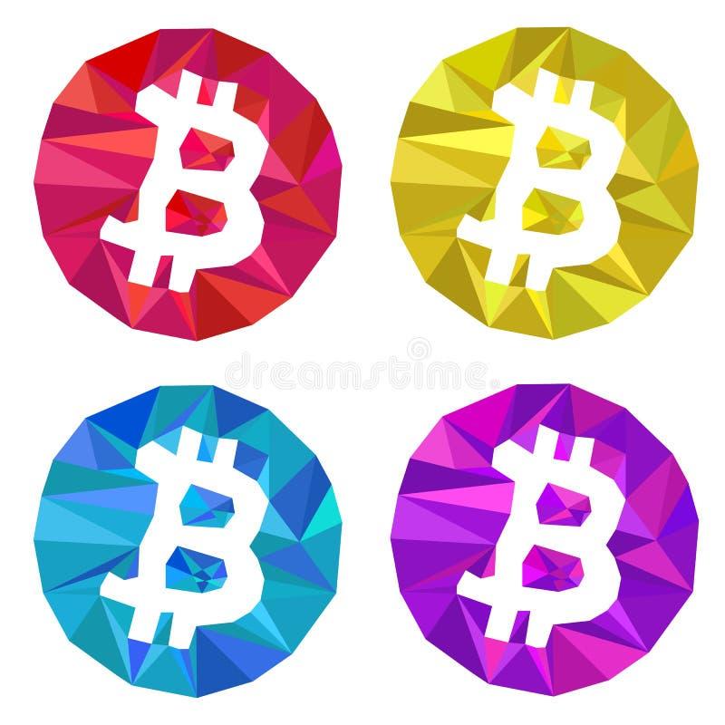 Insieme triangolare di logo di Bitcoin Porpora blu gialla rossa illustrazione vettoriale